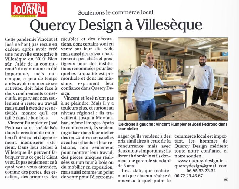 Quercy Design dans Le Petit Journal